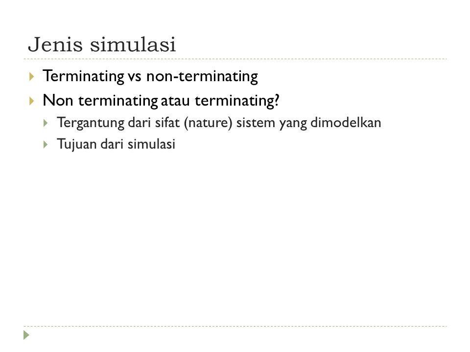 Jenis simulasi  Terminating vs non-terminating  Non terminating atau terminating.