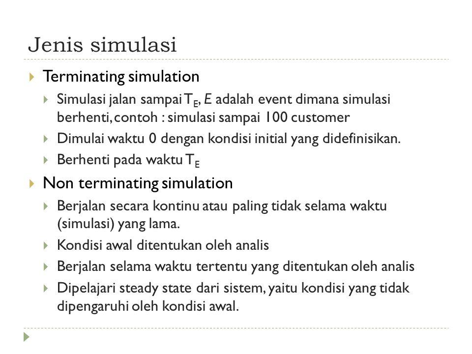 Jenis simulasi  Terminating simulation  Simulasi jalan sampai T E, E adalah event dimana simulasi berhenti, contoh : simulasi sampai 100 customer  Dimulai waktu 0 dengan kondisi initial yang didefinisikan.