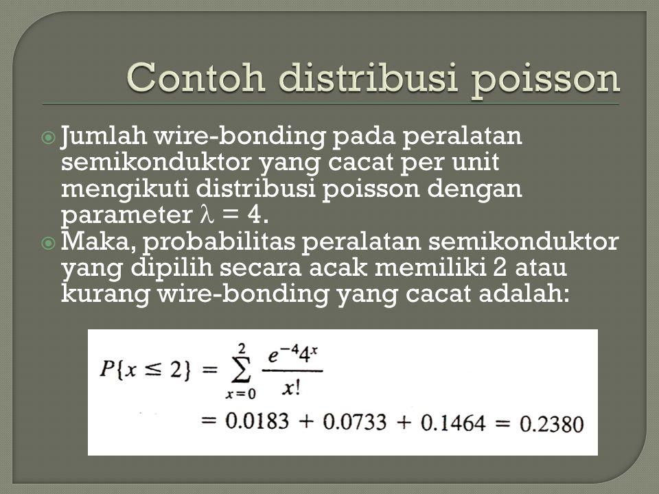  Jumlah wire-bonding pada peralatan semikonduktor yang cacat per unit mengikuti distribusi poisson dengan parameter = 4.  Maka, probabilitas peralat