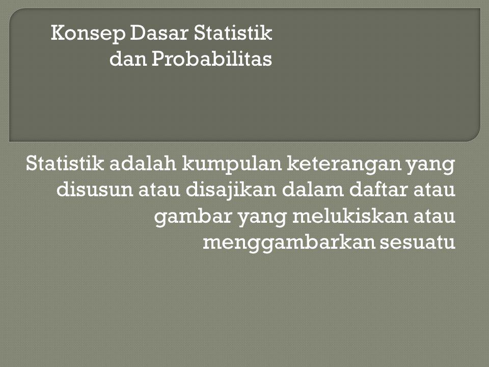 Konsep Dasar Statistik dan Probabilitas Statistik adalah kumpulan keterangan yang disusun atau disajikan dalam daftar atau gambar yang melukiskan atau
