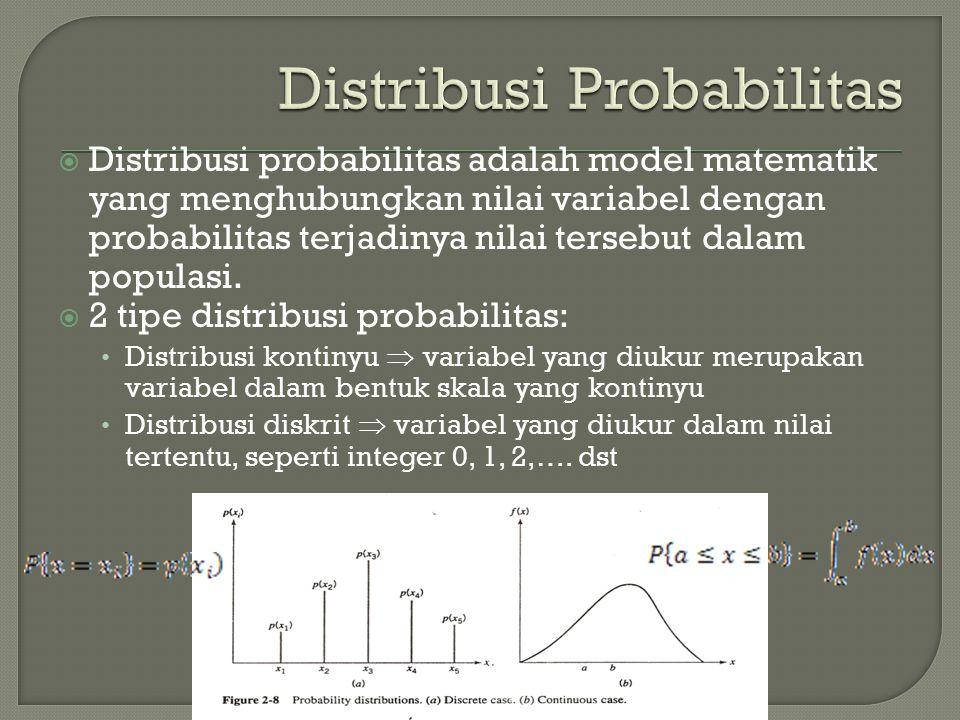  Distribusi probabilitas adalah model matematik yang menghubungkan nilai variabel dengan probabilitas terjadinya nilai tersebut dalam populasi.  2 t