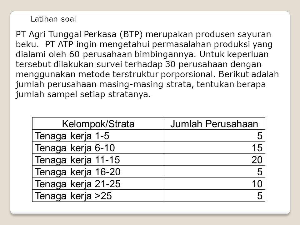 Latihan soal PT Agri Tunggal Perkasa (BTP) merupakan produsen sayuran beku. PT ATP ingin mengetahui permasalahan produksi yang dialami oleh 60 perusah