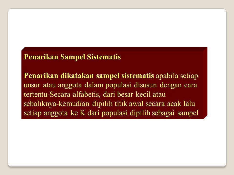 Penarikan Sampel Sistematis Penarikan dikatakan sampel sistematis apabila setiap unsur atau anggota dalam populasi disusun dengan cara tertentu-Secara