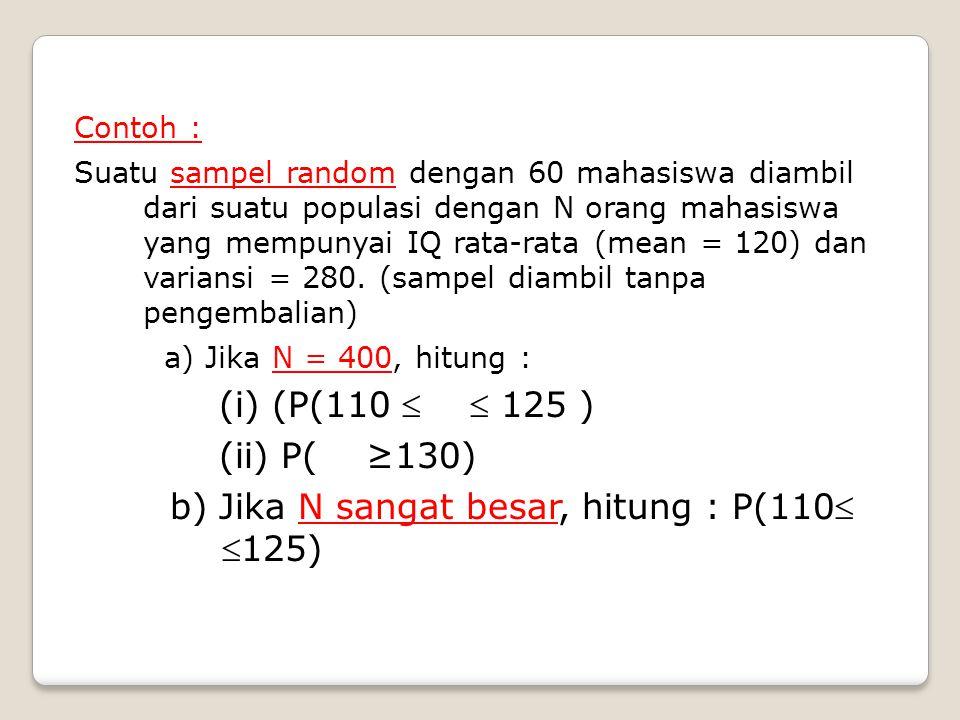 Contoh : Suatu sampel random dengan 60 mahasiswa diambil dari suatu populasi dengan N orang mahasiswa yang mempunyai IQ rata-rata (mean = 120) dan var