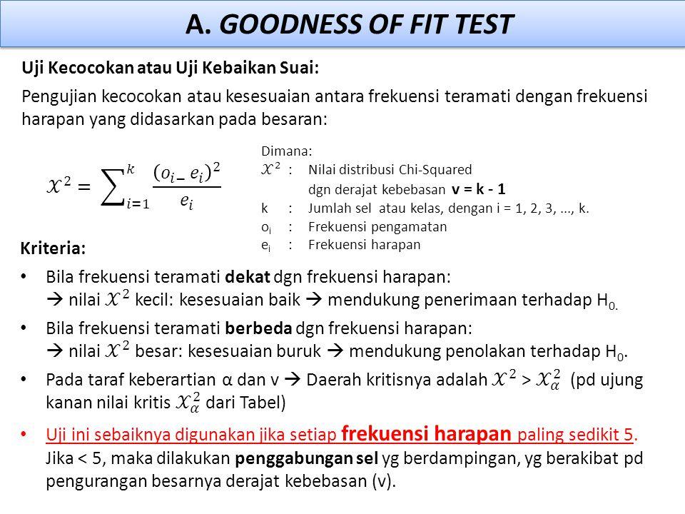 A. GOODNESS OF FIT TEST Uji Kecocokan atau Uji Kebaikan Suai: Pengujian kecocokan atau kesesuaian antara frekuensi teramati dengan frekuensi harapan y