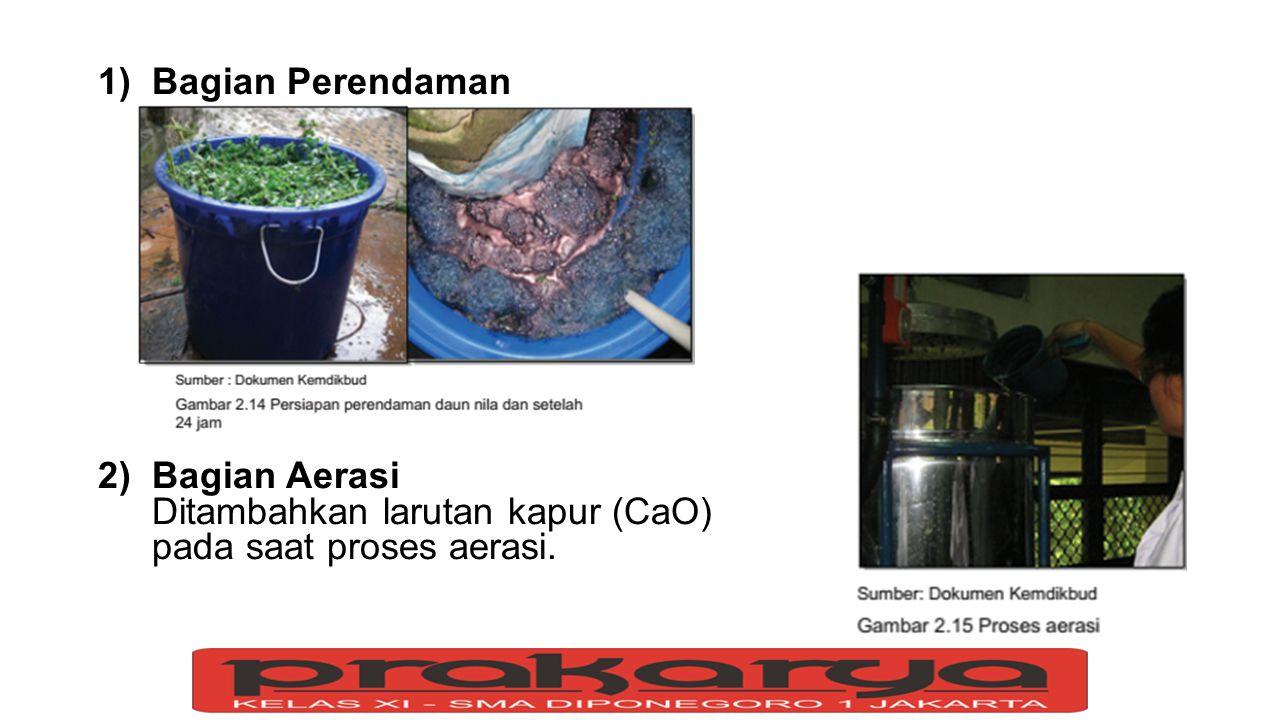 1)Bagian Perendaman 2)Bagian Aerasi Ditambahkan larutan kapur (CaO) pada saat proses aerasi.