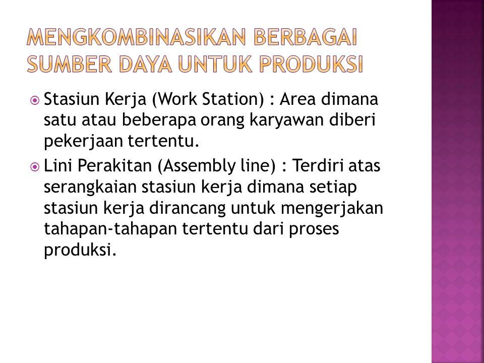  Stasiun Kerja (Work Station) : Area dimana satu atau beberapa orang karyawan diberi pekerjaan tertentu.  Lini Perakitan (Assembly line) : Terdiri a