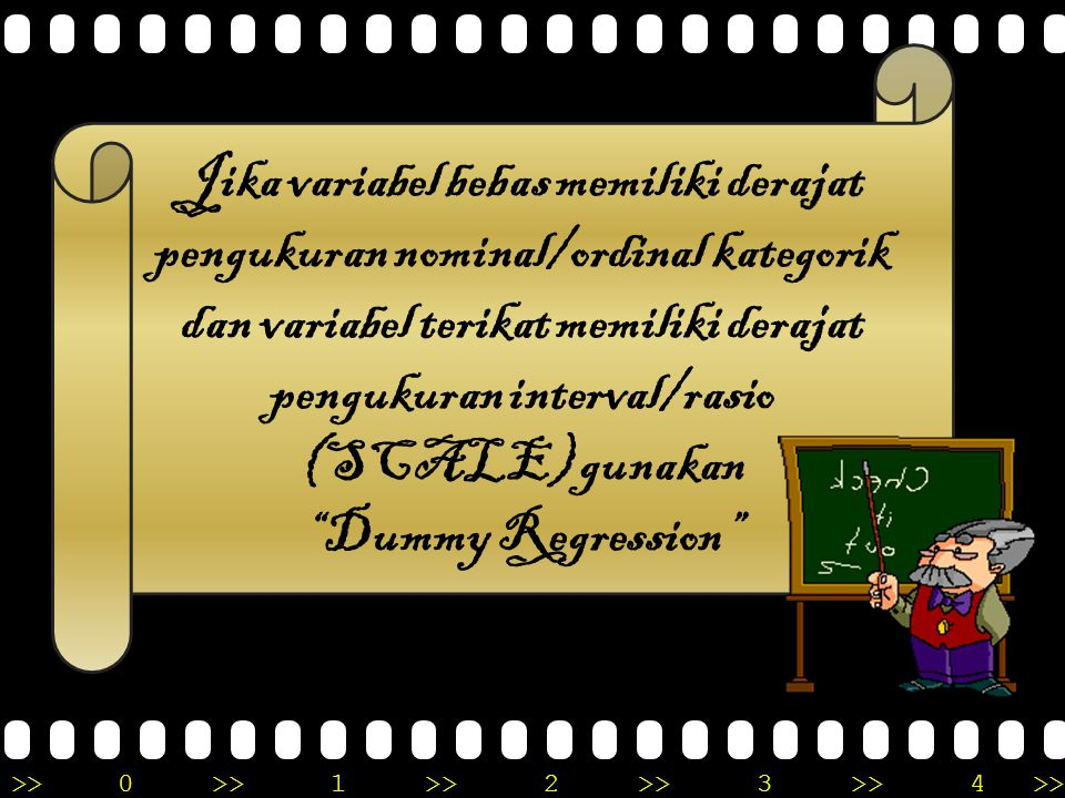 >>0 >>1 >> 2 >> 3 >> 4 >> PLOTTING DATA X & Y PILIH MODEL REGRESI PARAMETRIK YANG SESUAI ANALISIS (MISAL: LINIER) HITUNG RESIDUAL ANALISIS RESIDUAL (UJI ASUMSI) UJI LINIERITAS UJI NORMALITASS TIDAK LINIER LINIER NORMAL TIDAK NORMAL ANALISIS REGRESI NON- PARAMETRIK CLEAR ANOTHER APPROACH TO REGRESSION