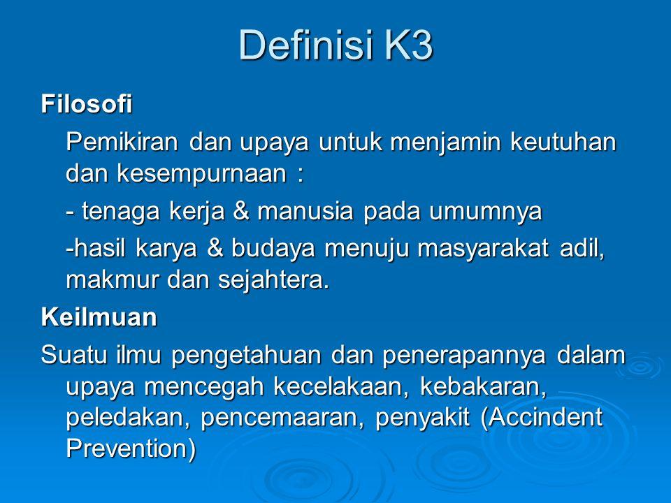 Definisi K3 Filosofi Pemikiran dan upaya untuk menjamin keutuhan dan kesempurnaan : - tenaga kerja & manusia pada umumnya -hasil karya & budaya menuju