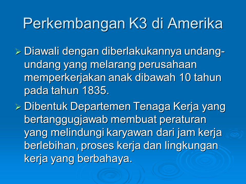 Perkembangan K3 di Amerika  Diawali dengan diberlakukannya undang- undang yang melarang perusahaan memperkerjakan anak dibawah 10 tahun pada tahun 18