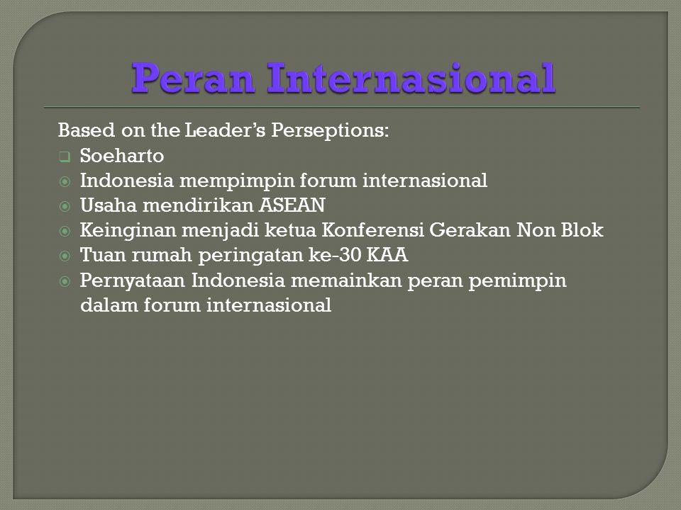 Based on the Leader's Perseptions:  Soeharto  Indonesia mempimpin forum internasional  Usaha mendirikan ASEAN  Keinginan menjadi ketua Konferensi Gerakan Non Blok  Tuan rumah peringatan ke-30 KAA  Pernyataan Indonesia memainkan peran pemimpin dalam forum internasional