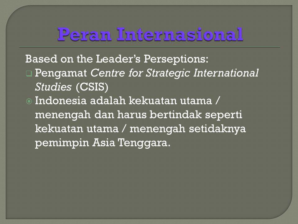 Based on the Leader's Perseptions:  Pengamat Centre for Strategic International Studies (CSIS)  Indonesia adalah kekuatan utama / menengah dan harus bertindak seperti kekuatan utama / menengah setidaknya pemimpin Asia Tenggara.