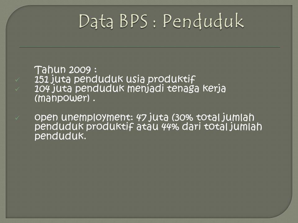 Tahun 2009 : 151 juta penduduk usia produktif 104 juta penduduk menjadi tenaga kerja (manpower).