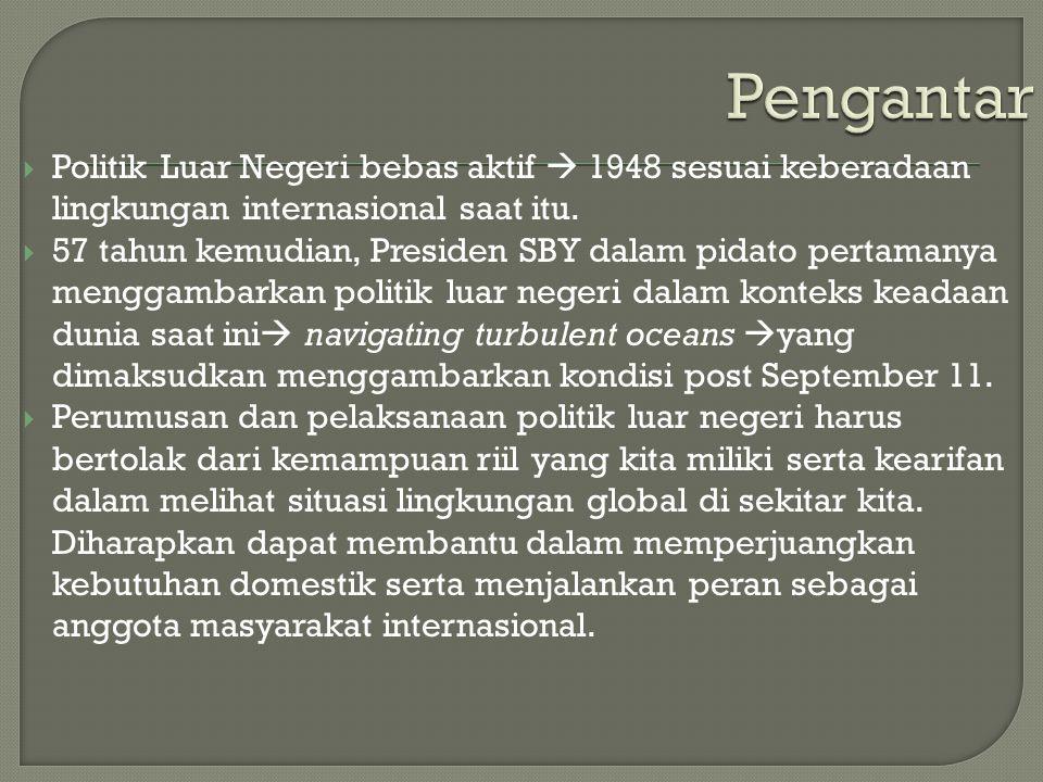  Politik Luar Negeri bebas aktif  1948 sesuai keberadaan lingkungan internasional saat itu.