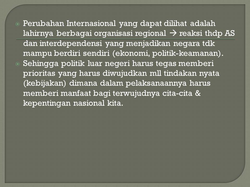  Perubahan Internasional yang dapat dilihat adalah lahirnya berbagai organisasi regional  reaksi thdp AS dan interdependensi yang menjadikan negara tdk mampu berdiri sendiri (ekonomi, politik-keamanan).