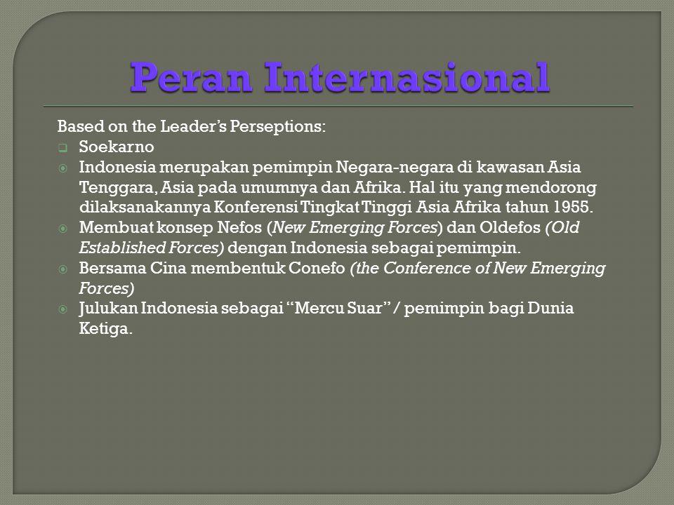Based on the Leader's Perseptions:  Soekarno  Indonesia merupakan pemimpin Negara-negara di kawasan Asia Tenggara, Asia pada umumnya dan Afrika.