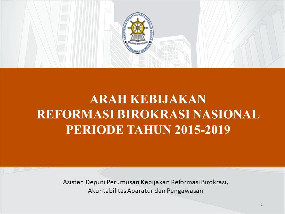 ARAH KEBIJAKAN REFORMASI BIROKRASI NASIONAL PERIODE TAHUN 2015-2019 Asisten Deputi Perumusan Kebijakan Reformasi Birokrasi, Akuntabilitas Aparatur dan