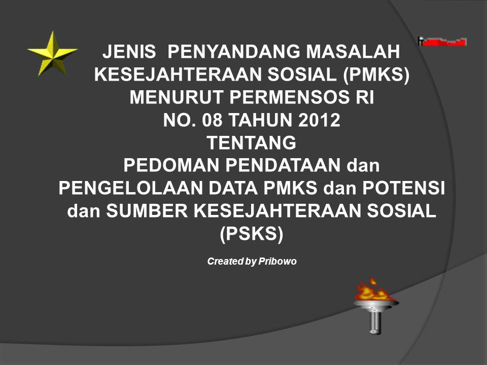 JENIS PENYANDANG MASALAH KESEJAHTERAAN SOSIAL (PMKS) MENURUT PERMENSOS RI NO. 08 TAHUN 2012 TENTANG PEDOMAN PENDATAAN dan PENGELOLAAN DATA PMKS dan PO