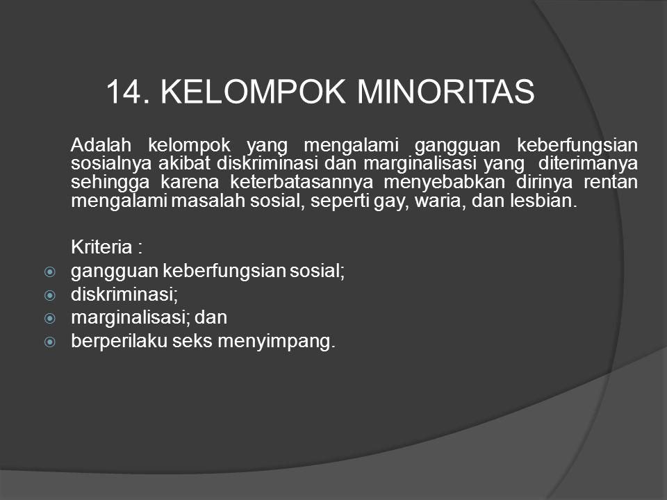 Adalah kelompok yang mengalami gangguan keberfungsian sosialnya akibat diskriminasi dan marginalisasi yang diterimanya sehingga karena keterbatasannya