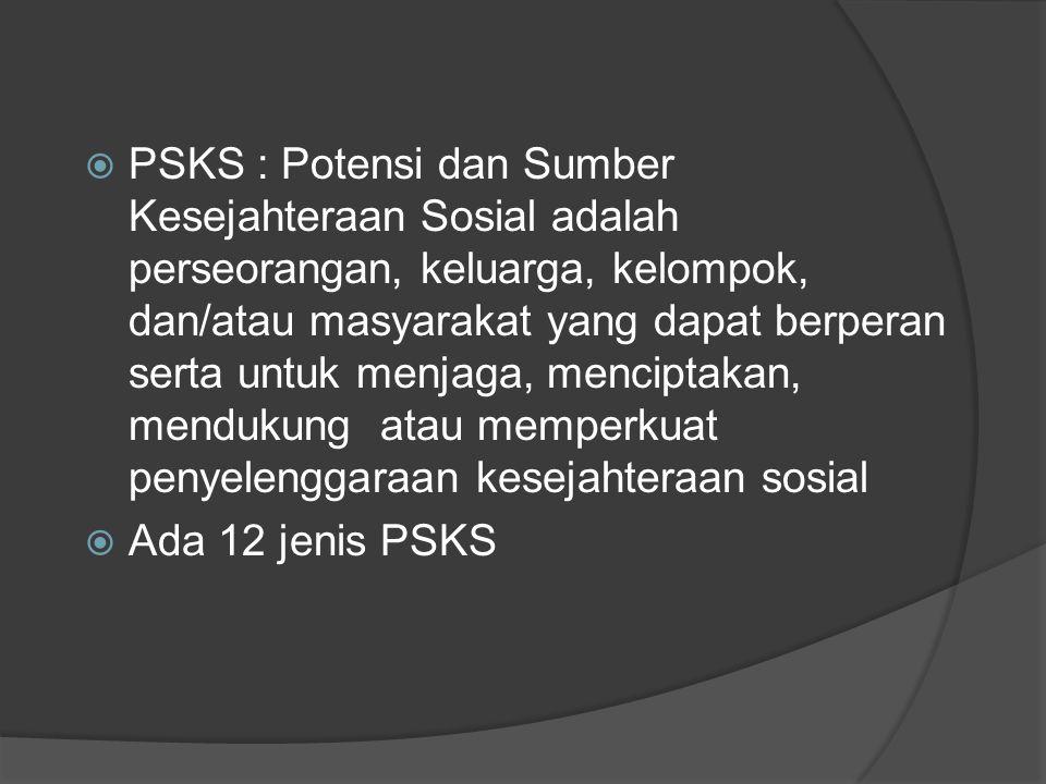  PSKS : Potensi dan Sumber Kesejahteraan Sosial adalah perseorangan, keluarga, kelompok, dan/atau masyarakat yang dapat berperan serta untuk menjaga,