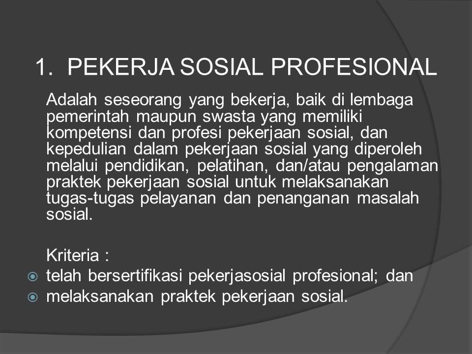 Adalah seseorang yang bekerja, baik di lembaga pemerintah maupun swasta yang memiliki kompetensi dan profesi pekerjaan sosial, dan kepedulian dalam pe