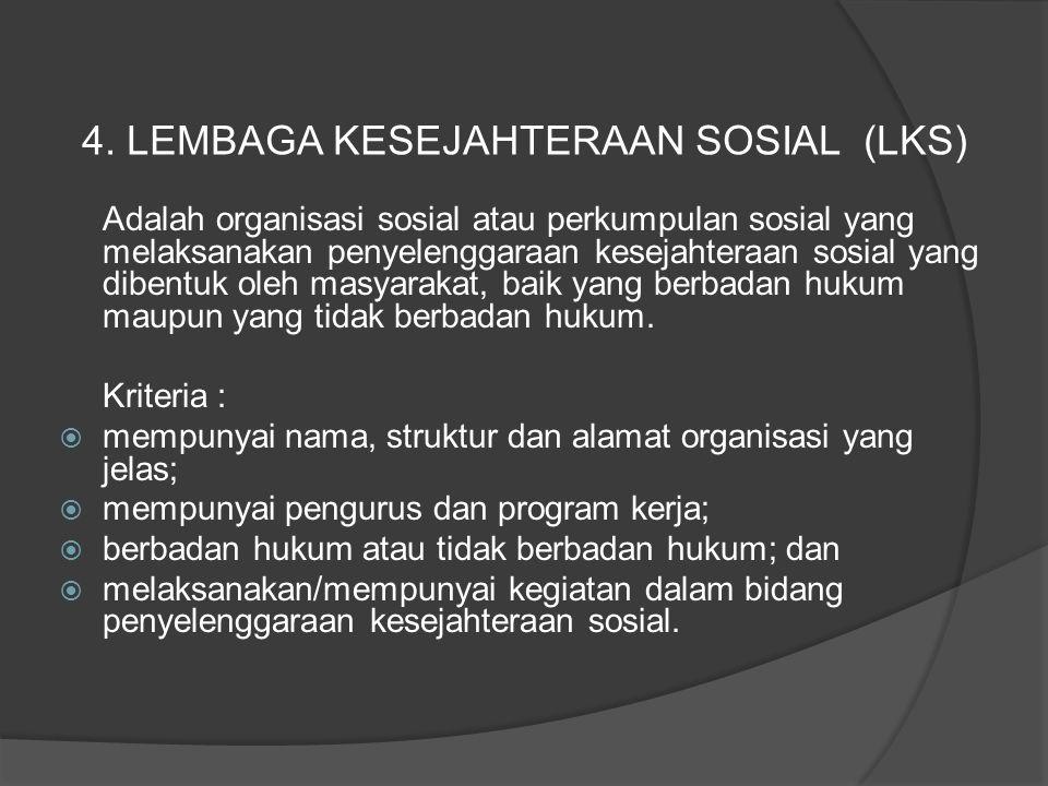 Adalah organisasi sosial atau perkumpulan sosial yang melaksanakan penyelenggaraan kesejahteraan sosial yang dibentuk oleh masyarakat, baik yang berba