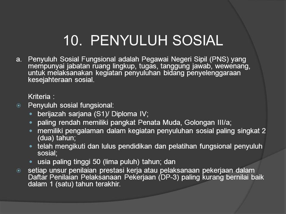 a. Penyuluh Sosial Fungsional adalah Pegawai Negeri Sipil (PNS) yang mempunyai jabatan ruang lingkup, tugas, tanggung jawab, wewenang, untuk melaksana
