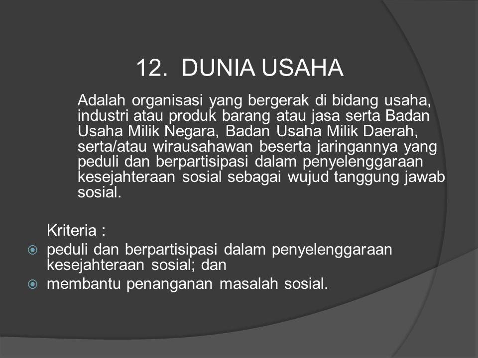 Adalah organisasi yang bergerak di bidang usaha, industri atau produk barang atau jasa serta Badan Usaha Milik Negara, Badan Usaha Milik Daerah, serta
