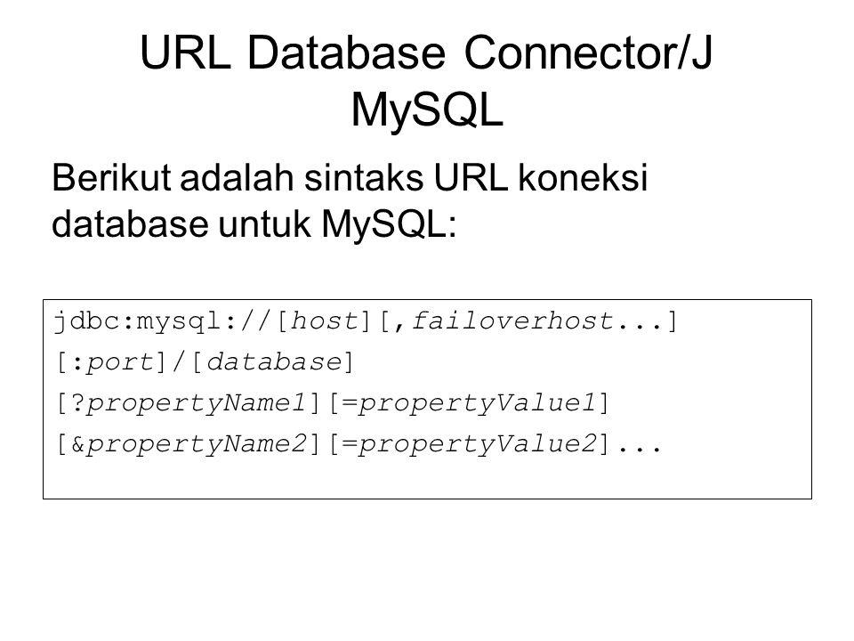URL Database Connector/J MySQL jdbc:mysql://[host][,failoverhost...] [:port]/[database] [?propertyName1][=propertyValue1] [&propertyName2][=propertyVa