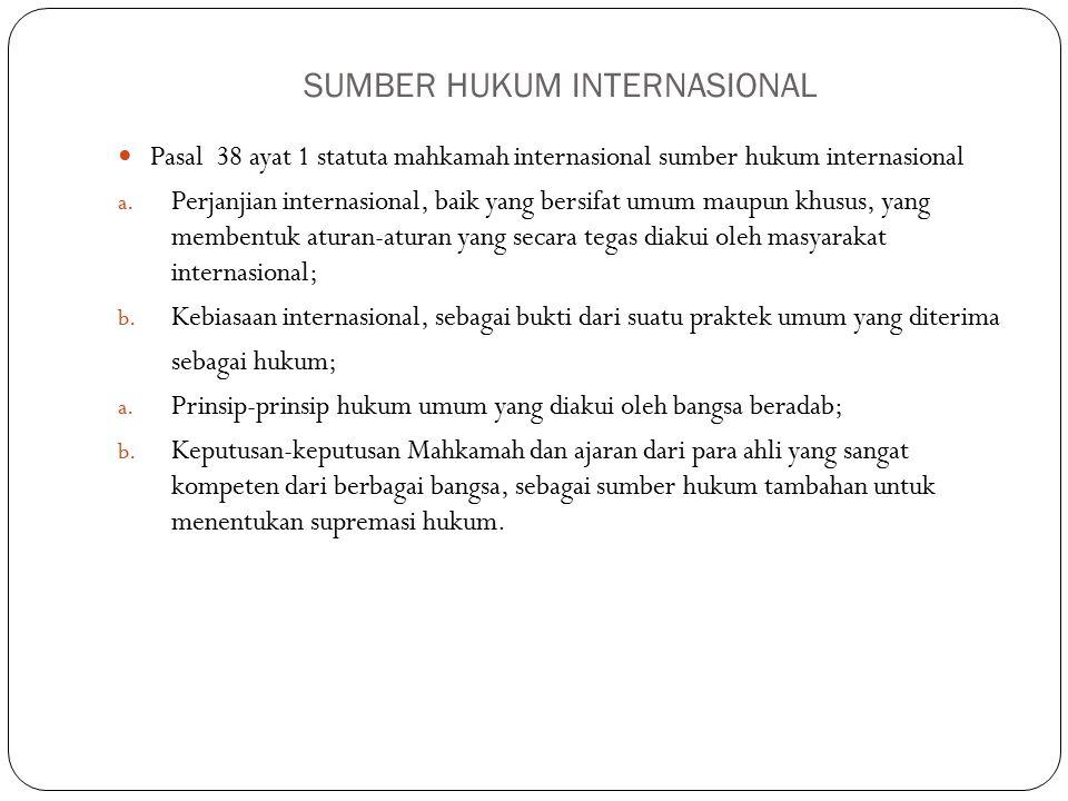 SUMBER HUKUM INTERNASIONAL Pasal 38 ayat 1 statuta mahkamah internasional sumber hukum internasional a.
