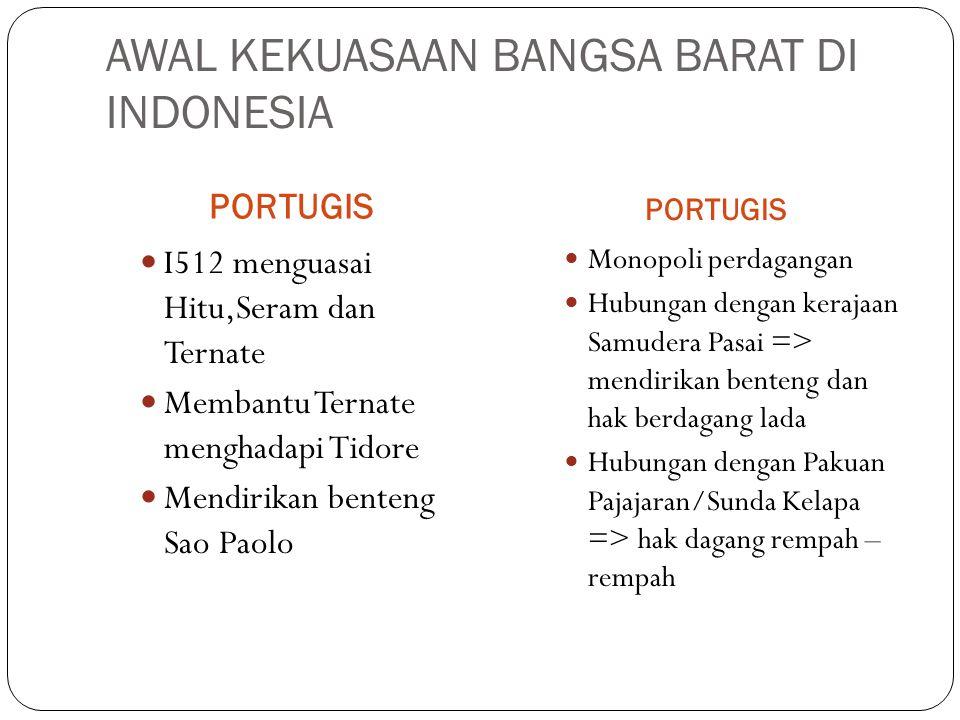 AWAL KEKUASAAN BANGSA BARAT DI INDONESIA PORTUGIS I512 menguasai Hitu,Seram dan Ternate Membantu Ternate menghadapi Tidore Mendirikan benteng Sao Paol
