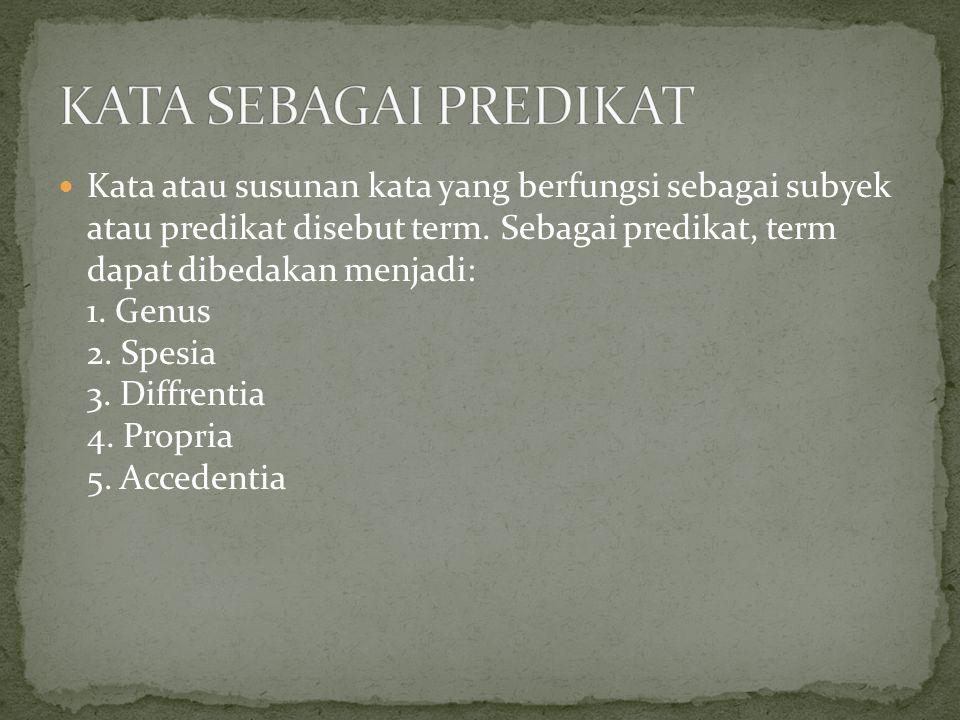 Kata atau susunan kata yang berfungsi sebagai subyek atau predikat disebut term. Sebagai predikat, term dapat dibedakan menjadi: 1. Genus 2. Spesia 3.