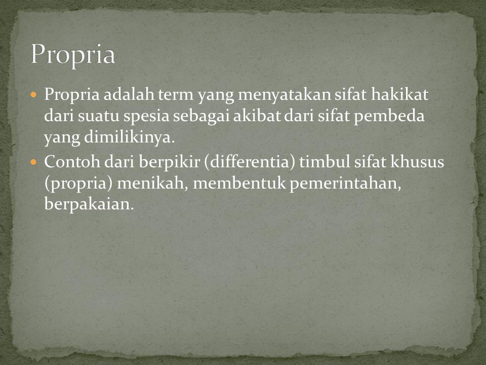 Propria adalah term yang menyatakan sifat hakikat dari suatu spesia sebagai akibat dari sifat pembeda yang dimilikinya. Contoh dari berpikir (differen