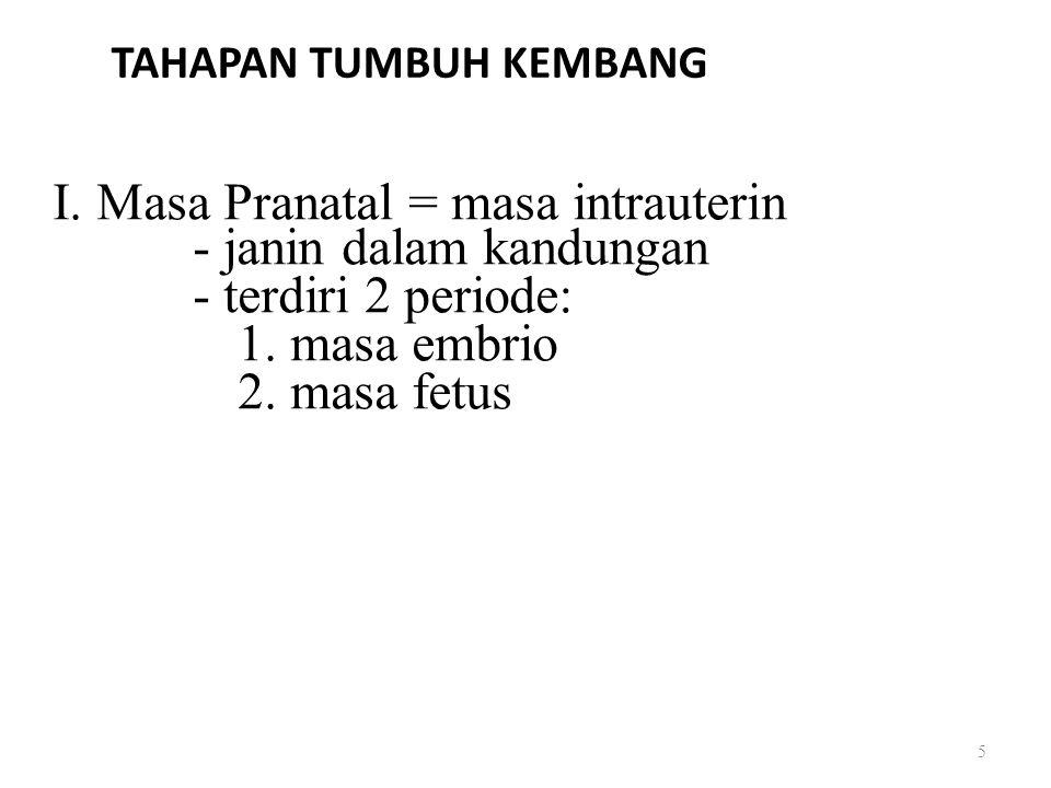TAHAPAN TUMBUH KEMBANG I. Masa Pranatal = masa intrauterin - janin dalam kandungan - terdiri 2 periode: 1. masa embrio 2. masa fetus 5