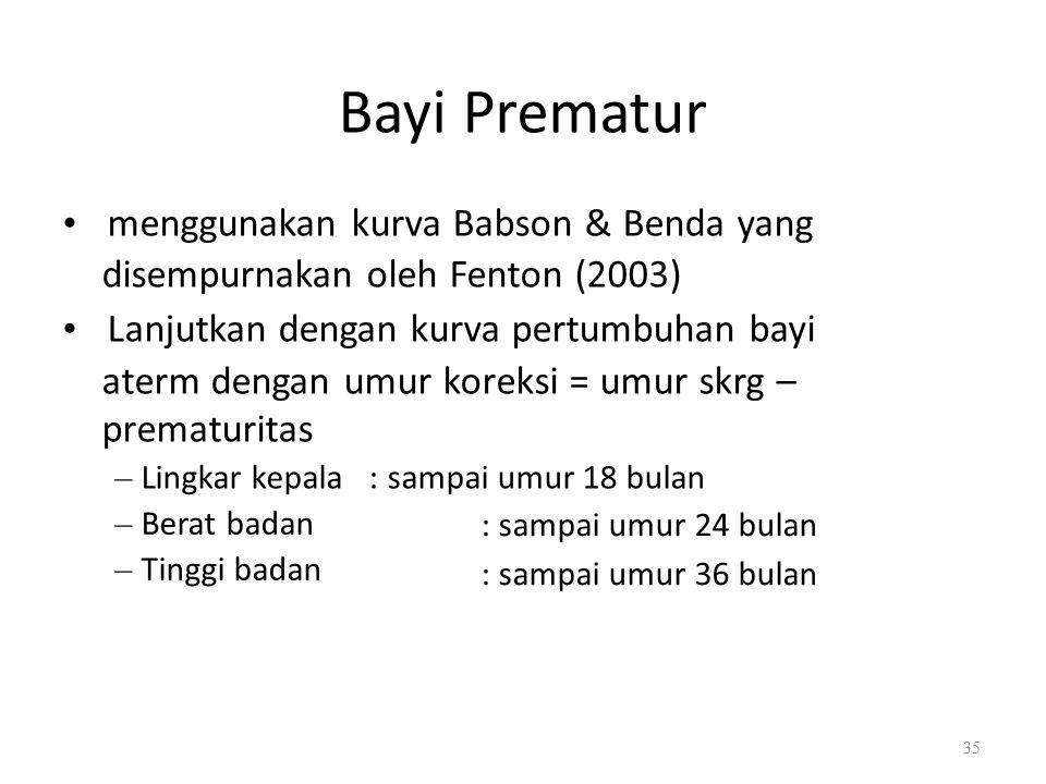 Bayi Prematur menggunakan kurva Babson & Benda yang disempurnakan oleh Fenton (2003) Lanjutkan dengan kurva pertumbuhan bayi aterm dengan umur koreksi = umur skrg – prematuritas – Lingkar kepala : sampai umur 18 bulan – Berat badan – Tinggi badan : sampai umur 24 bulan : sampai umur 36 bulan 35
