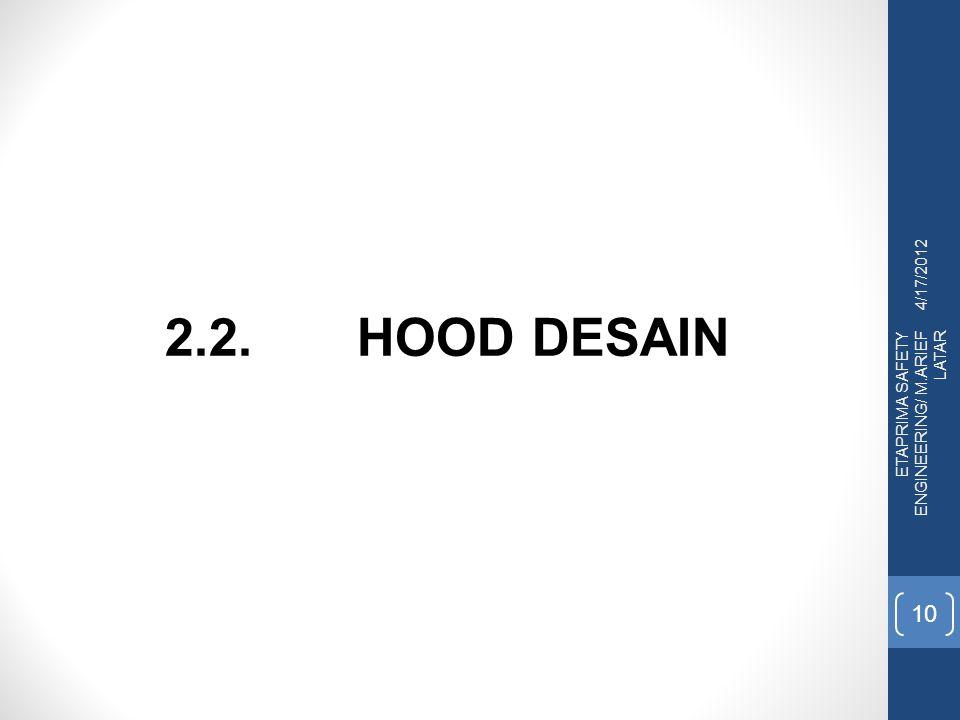 4/17/2012 ETAPRIMA SAFETY ENGINEERING/ M.ARIEF LATAR 10 2.2. HOOD DESAIN