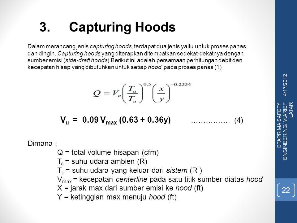 4/17/2012 ETAPRIMA SAFETY ENGINEERING/ M.ARIEF LATAR 22 3.Capturing Hoods Dalam merancang jenis capturing hoods, terdapat dua jenis yaitu untuk proses panas dan dingin.