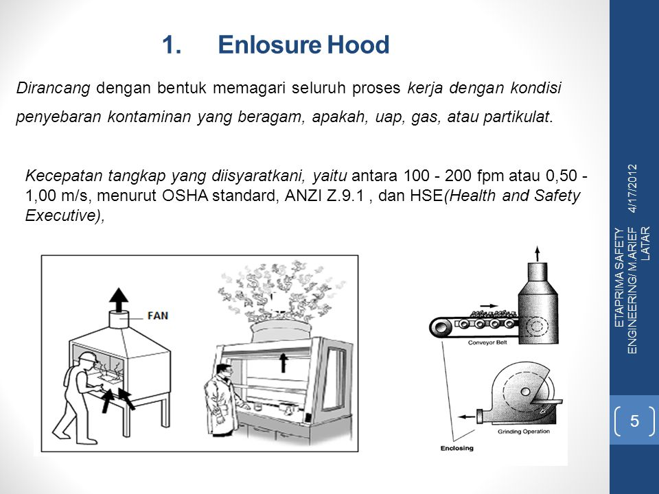 1. Enlosure Hood 4/17/2012 ETAPRIMA SAFETY ENGINEERING/ M.ARIEF LATAR 5 Dirancang dengan bentuk memagari seluruh proses kerja dengan kondisi penyebara