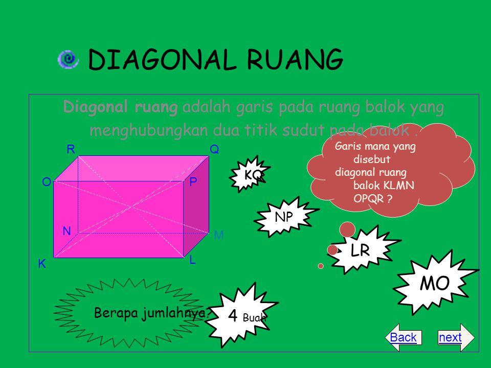 LR Garis mana yang disebut diagonal ruang balok KLMN OPQR ? DIAGONAL RUANG Diagonal ruang adalah garis pada ruang balok yang menghubungkan dua titik s