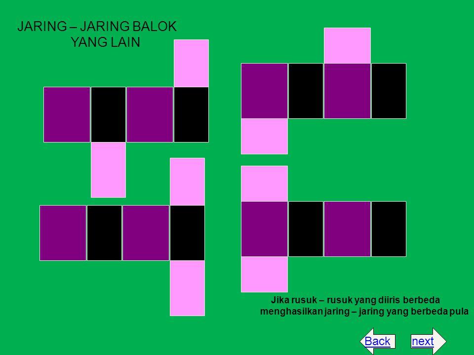 JARING – JARING BALOK YANG LAIN Jika rusuk – rusuk yang diiris berbeda menghasilkan jaring – jaring yang berbeda pula nextBack