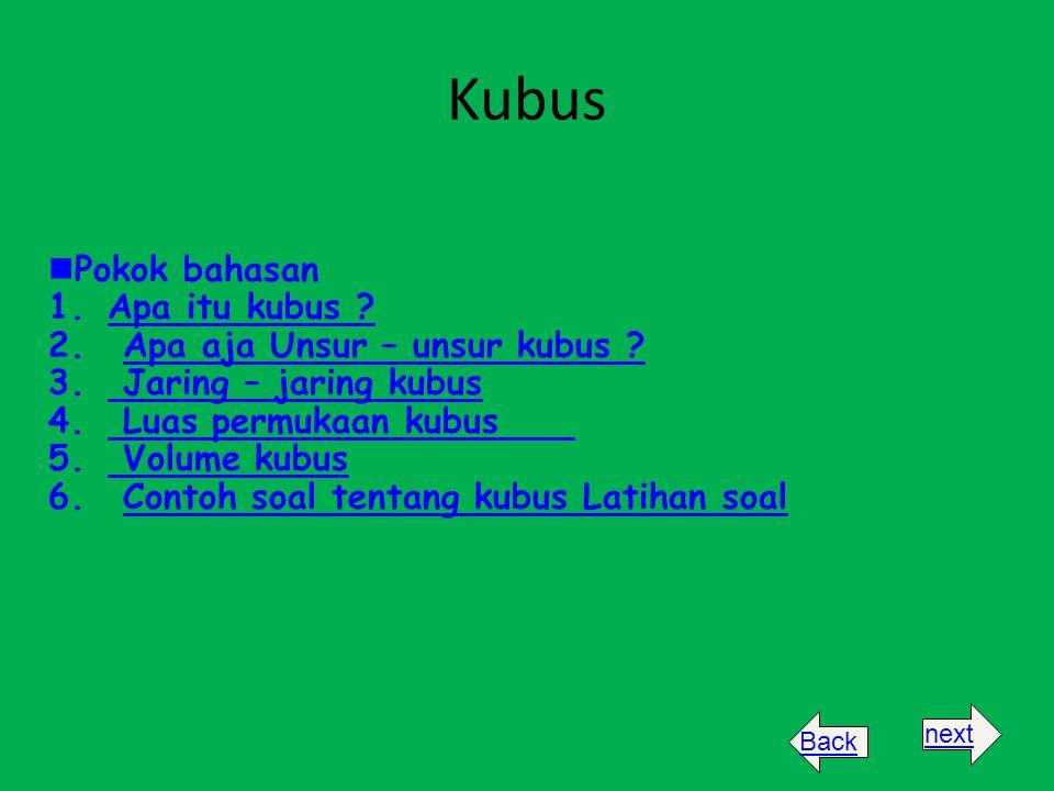 Kubus Pokok bahasan 1.Apa itu kubus ?Apa itu kubus ? 2. Apa aja Unsur – unsur kubus ?Apa aja Unsur – unsur kubus ? 3. Jaring – jaring kubus Jaring – j