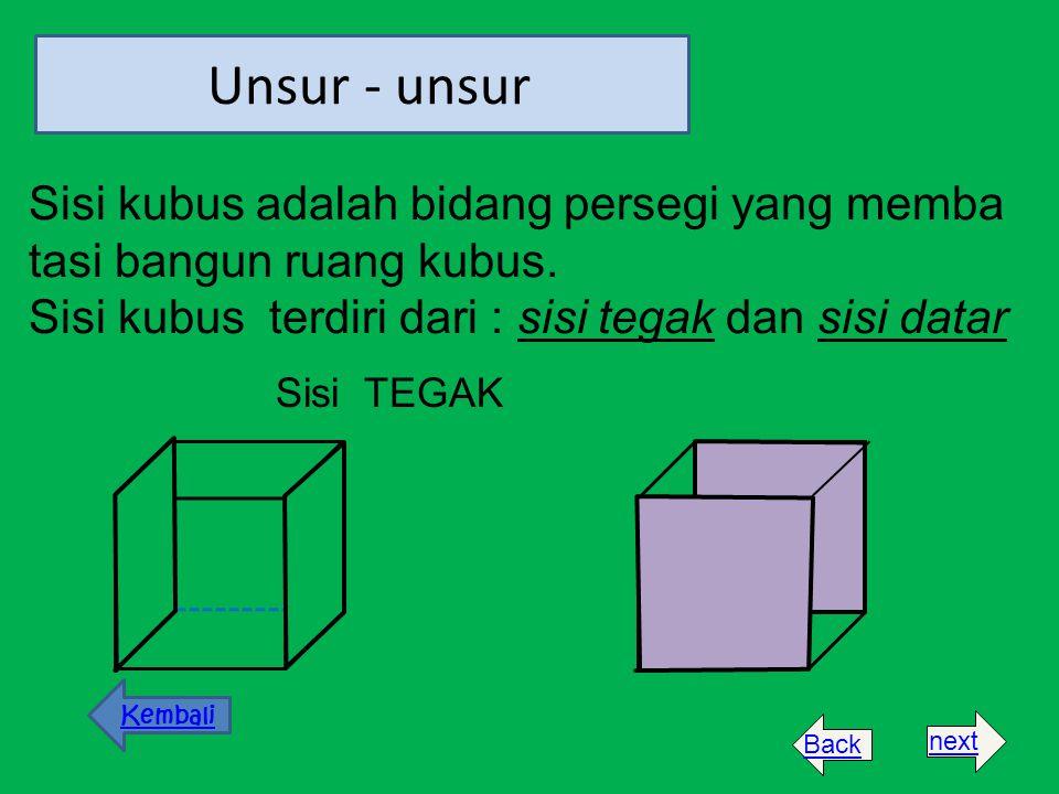 Sisi kubus adalah bidang persegi yang memba tasi bangun ruang kubus. Sisi kubus terdiri dari : sisi tegak dan sisi datar Unsur - unsur Sisi TEGAK Kemb
