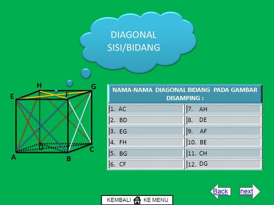 DIAGONAL SISI/BIDANG NAMA-NAMA DIAGONAL BIDANG PADA GAMBAR DISAMPING : 1. AC7.7. 2.8.8. 3.9. 4.10. 5.11. 6.12. AF AH BD BE BG CF CH DE DG EG FH KEMBAL