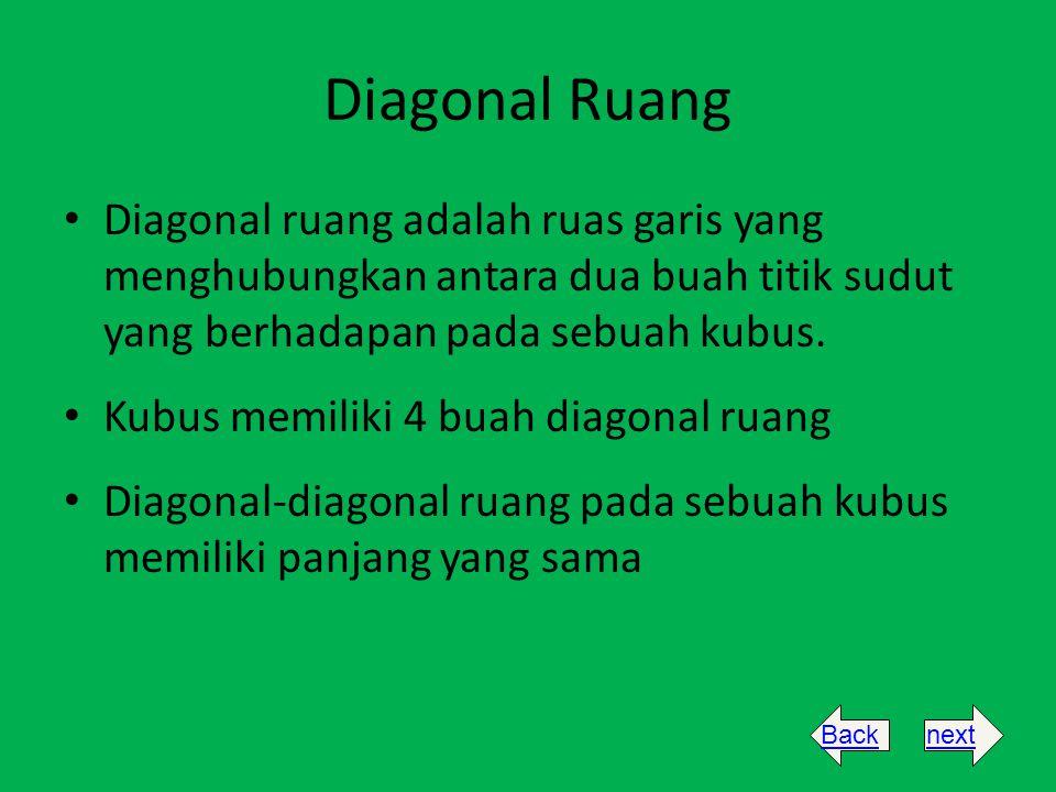 Diagonal Ruang Diagonal ruang adalah ruas garis yang menghubungkan antara dua buah titik sudut yang berhadapan pada sebuah kubus. Kubus memiliki 4 bua
