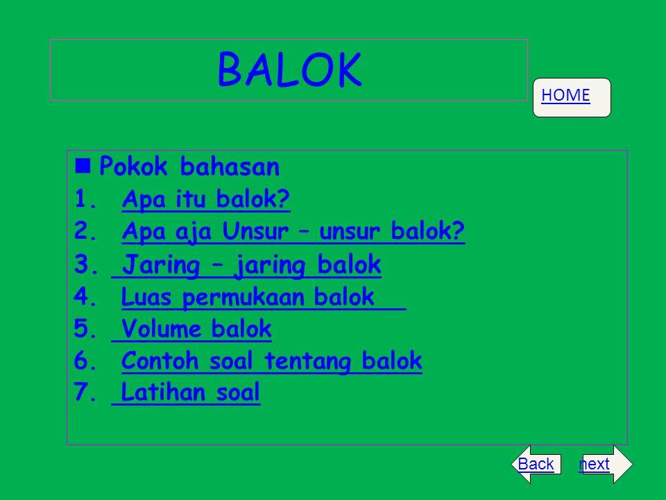 BALOK Pokok bahasan 1. AApa itu balok? 2. AApa aja Unsur – unsur balok? 3. J Jaring – jaring balok 4. LLuas permukaan balok 5. V Volume balok 6. CCont