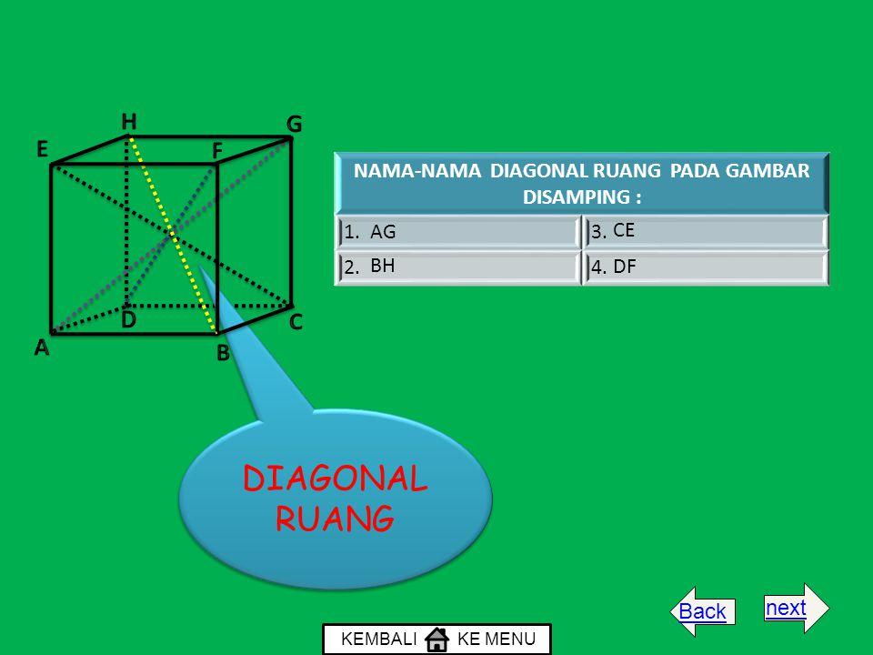 NAMA-NAMA DIAGONAL RUANG PADA GAMBAR DISAMPING : 1. AG3. 2.4. BH CE DF DIAGONAL RUANG KEMBALI KE MENU Backnext