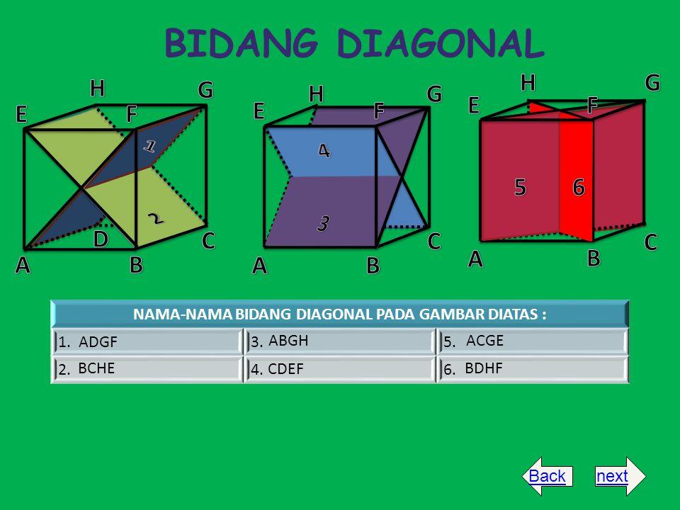 BIDANG DIAGONAL NAMA-NAMA BIDANG DIAGONAL PADA GAMBAR DIATAS : 1. ADGF3.5. 2.4.6. BCHE ABGH CDEF ACGE BDHF Backnext