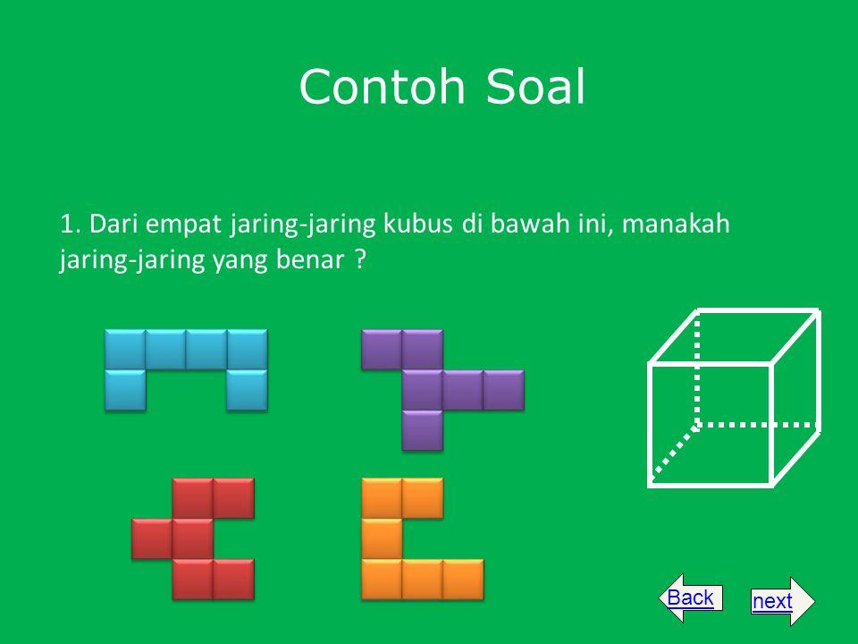 Contoh Soal 1. Dari empat jaring-jaring kubus di bawah ini, manakah jaring-jaring yang benar ? Backnext
