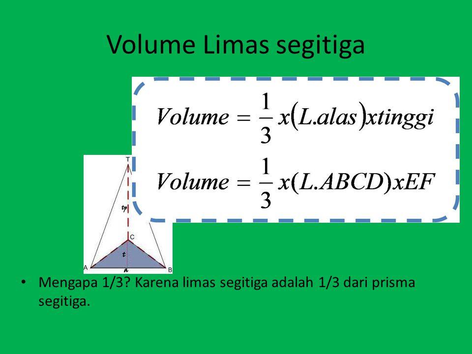 Volume Limas segitiga Mengapa 1/3? Karena limas segitiga adalah 1/3 dari prisma segitiga.