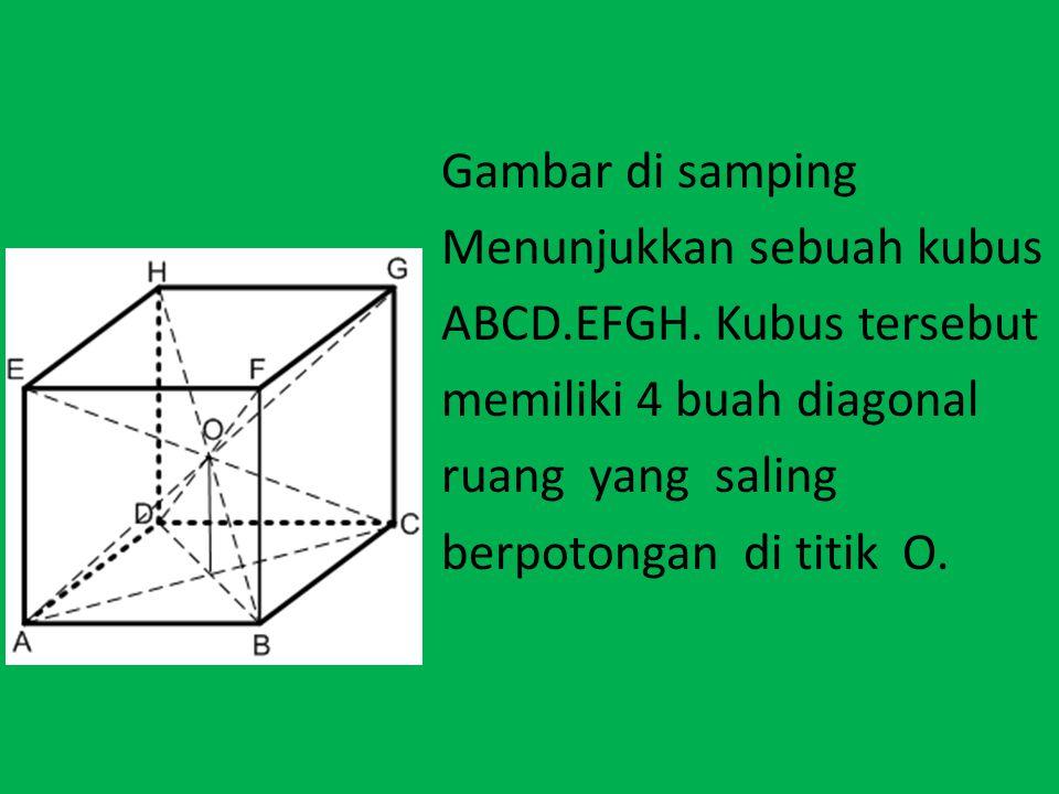 VOLUME LIMAS Gambar di samping Menunjukkan sebuah kubus ABCD.EFGH. Kubus tersebut memiliki 4 buah diagonal ruang yang saling berpotongan di titik O.